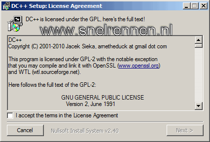 DC++ setup: license agreement