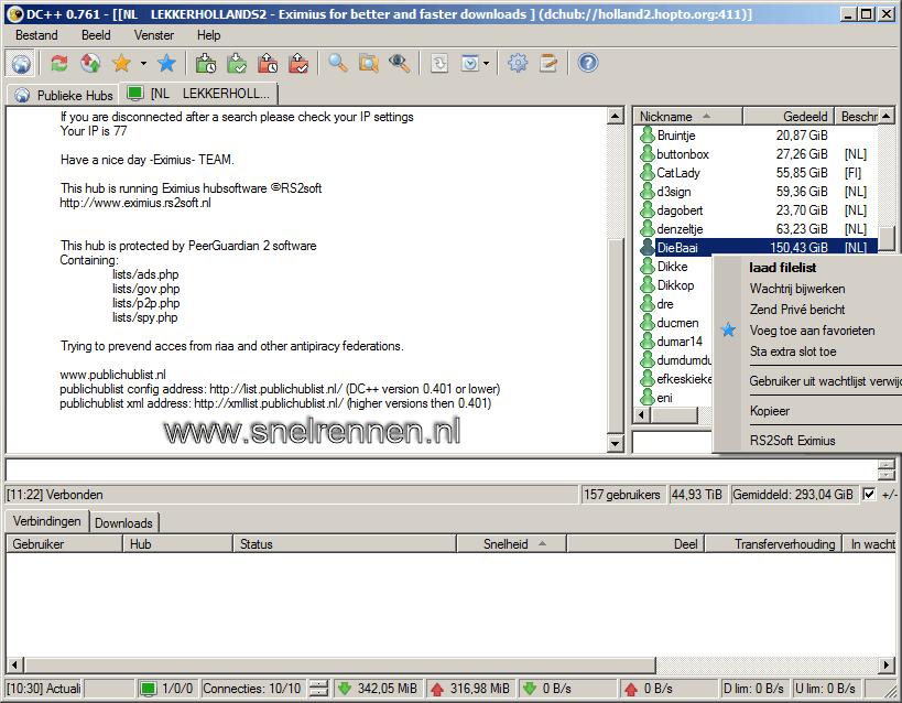 DC++: filelijst andere gebruiker downloaden