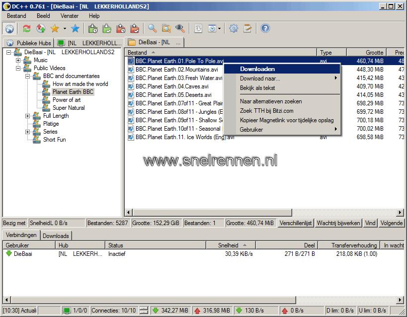 DC++:  bestandslijst andere gebruikers bekijken