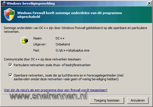 Windows firewall waarschuwing