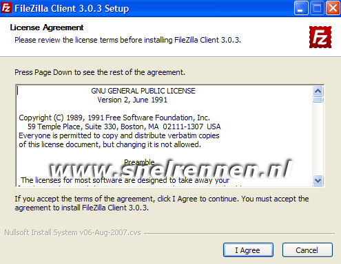 Filezilla client setup, license agreement