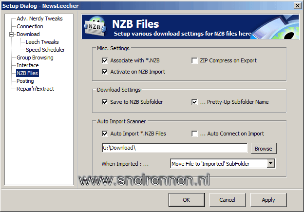 Newsleecher configuratie, tabbald nzb files