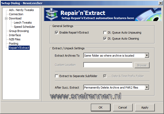 Newsleecher configuratie, tabbald repair 'n' extract